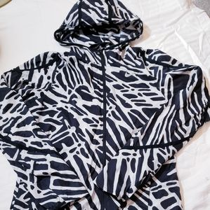 NIKE Black & White Print Windbreaker Sz Small